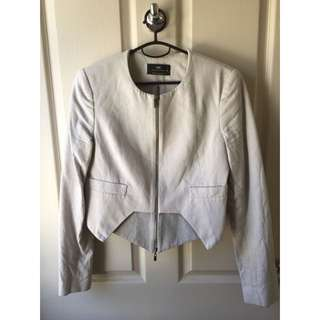 Cue Grey Linen Crop Blazer Size 8