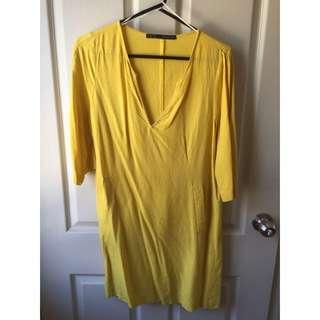 Zara Chartreuse Tunic Dress Size 10