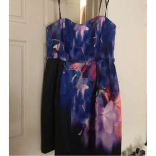 City Chic Size 16/S Strapless Floral Print Dress