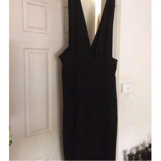 City Chic Size S/16 Black Overall Dress