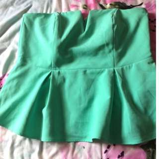 City Chic Size S Green Strapless Peplum Top