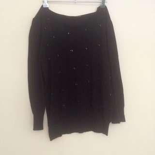 3/4 Sleeve Black Cardi