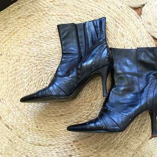 Black Leather Ankle Boots With Studs