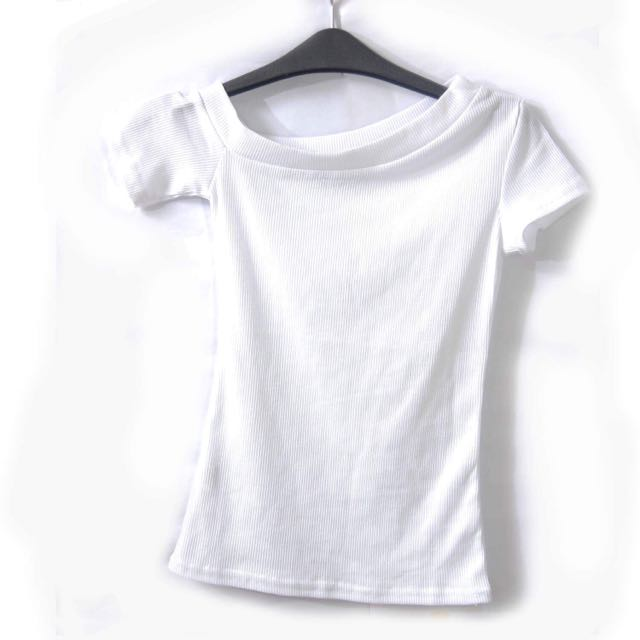 101 NEW YORK WHITE RIBBED ONE SIDE OFF-SHOULDER TOP