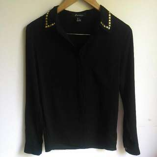 Forever 21Studded Collar Black Shirt