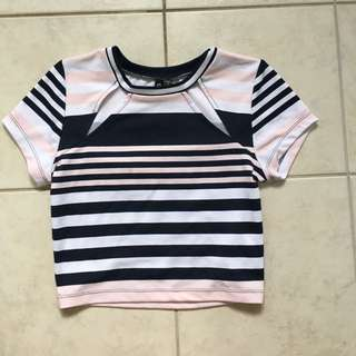 Stripe Mid length/ Crop T-shirt