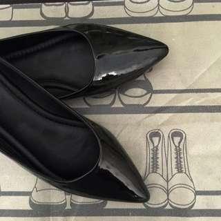 Flat shoes BLACK Kulit asli