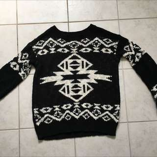 Black And Cream Jumper