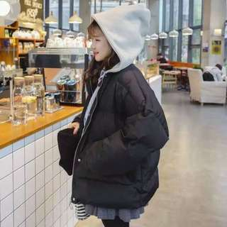 韓版寬鬆連帽麵包外套 黑色