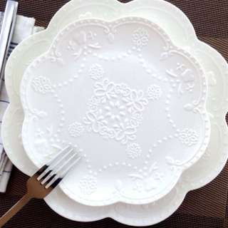 Floral embossed plates