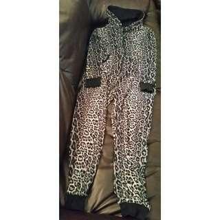 Size S Black and Grey Leopard Print Onesie/Pyjamas
