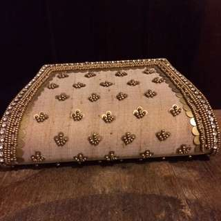 Gold Clutch Purse with Gold Strap and Magnet Closure