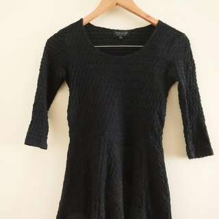 REDUCED TOPSHOP black Textured Skater Dress