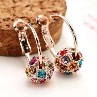 🚚 韓版時尚彩色鑽水晶耳環 韓國女氣質轉運珠長款耳墜甜美個性百搭