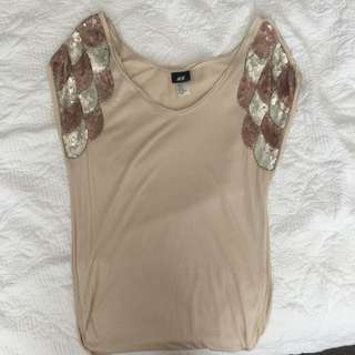 H&M Sequinned shoulders SHIRT Size XS 6-10