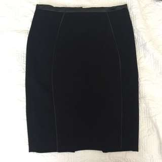 H&M Pencil Skirt With Faux Leather Piping Detail Size 32 Or Aus 6