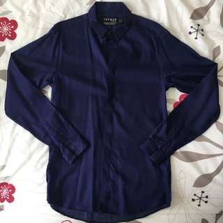 Topman Navy Blue Dotted Shirt
