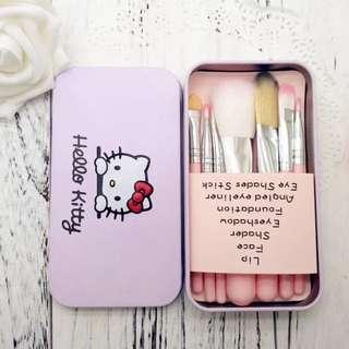 hello kitty 化妝刷7件套 連鐵盒 make up brush