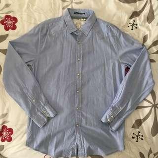 21 Men Light Blue Pinstripe Shirt