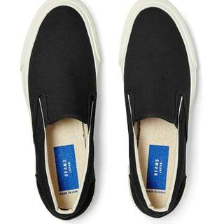 Beams Suede and Canvas Slip-on Sneakers (Black)