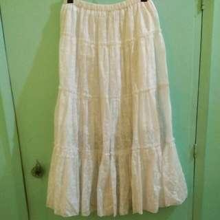 Floral White Maxi Skirt