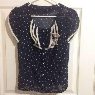 Navy Polka Dot Shirt
