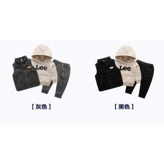 童装男小童套装秋冬新款加绒三件組  一套:999