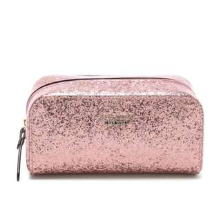 NEW Genuine authentic Kate Spade New York PinkMakeup Cosmetic Bag Purse Glitter Sparkle