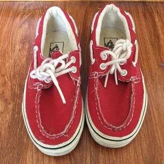 van's red boat shoes