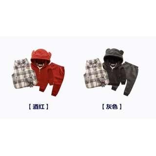 童装男小童套装秋冬新款加绒三件組