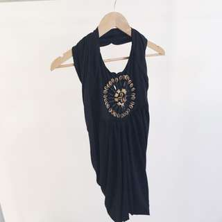 Halter-neck Black Dress- Size 10