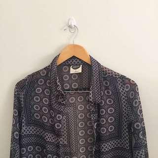 Bohemin Sheer Button Up Long Sleeve