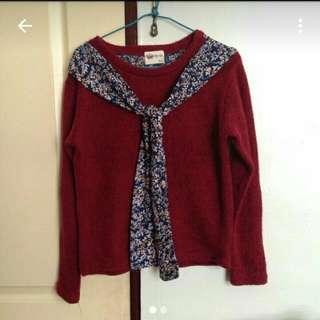 #免購物直接送 酒紅色針織毛衣 小碎花領巾綁帶 Mitoe