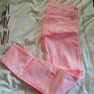 Pink And White Hollister Jeans
