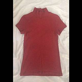 Closed Neck Red Stripes Top