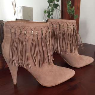 NEVER WORN Ankle Boots With Tassels