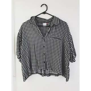Checkered Button Up Crop