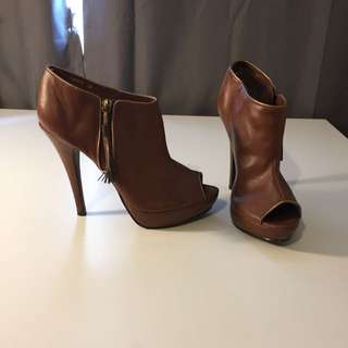 Brown Heel Boots Peep Toe