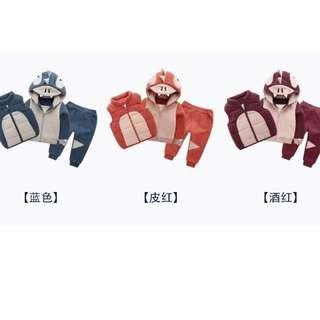 秋冬套裝~~~三件組~~~背心,馬甲~~套裝~~~刷毛~~~尺寸:90~130
