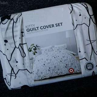 Kitty Print QUEEN Size Quilt Cover Set BNWT