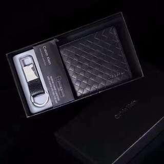 🚚 新款 CK 真皮編織 皮夾 男用真皮短夾 橫款 禮盒+鑰匙圈+提袋+代購小票