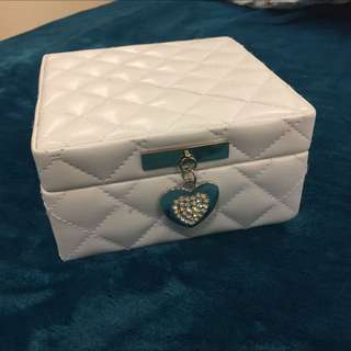 White Cushion Jewellery Box And Rings For Sale