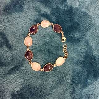 Amythest And Rose Quartz Bracelet