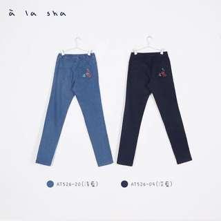 a la sha深藍牛仔褲S