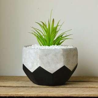 Large Black Geometric Faceted Concrete Planter