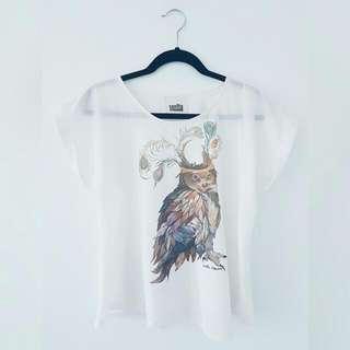 Vanilla Mousse Sheer Owl Top