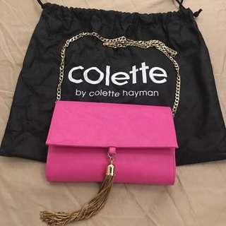 Collette Hayman Pink Clutch w cross body chain
