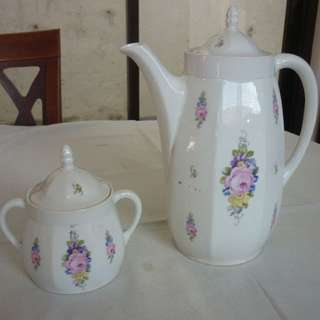 Vintage Porcelain Tea Pot and Sugar Jar