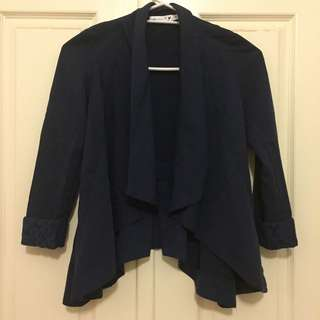 Navy Waterfall Jacket With Laced Cuff