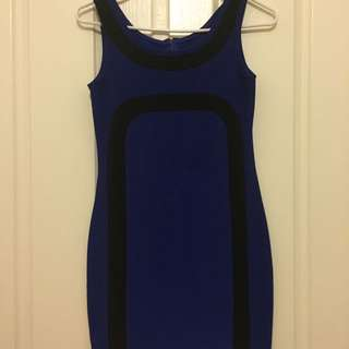 Black And Blue Body Con Dress